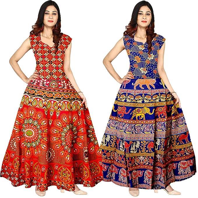 60f9ffe9ba2c Silver Organisation Multicoloure Jaipuri Floral Print Cotton Maxi Designer  Long Dresses for Women  Amazon.in  Clothing   Accessories