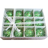 Festive Season Green Swirl Shatterproof Christmas Ball Ornaments, Tree Decorations (Set of 12, 60mm)