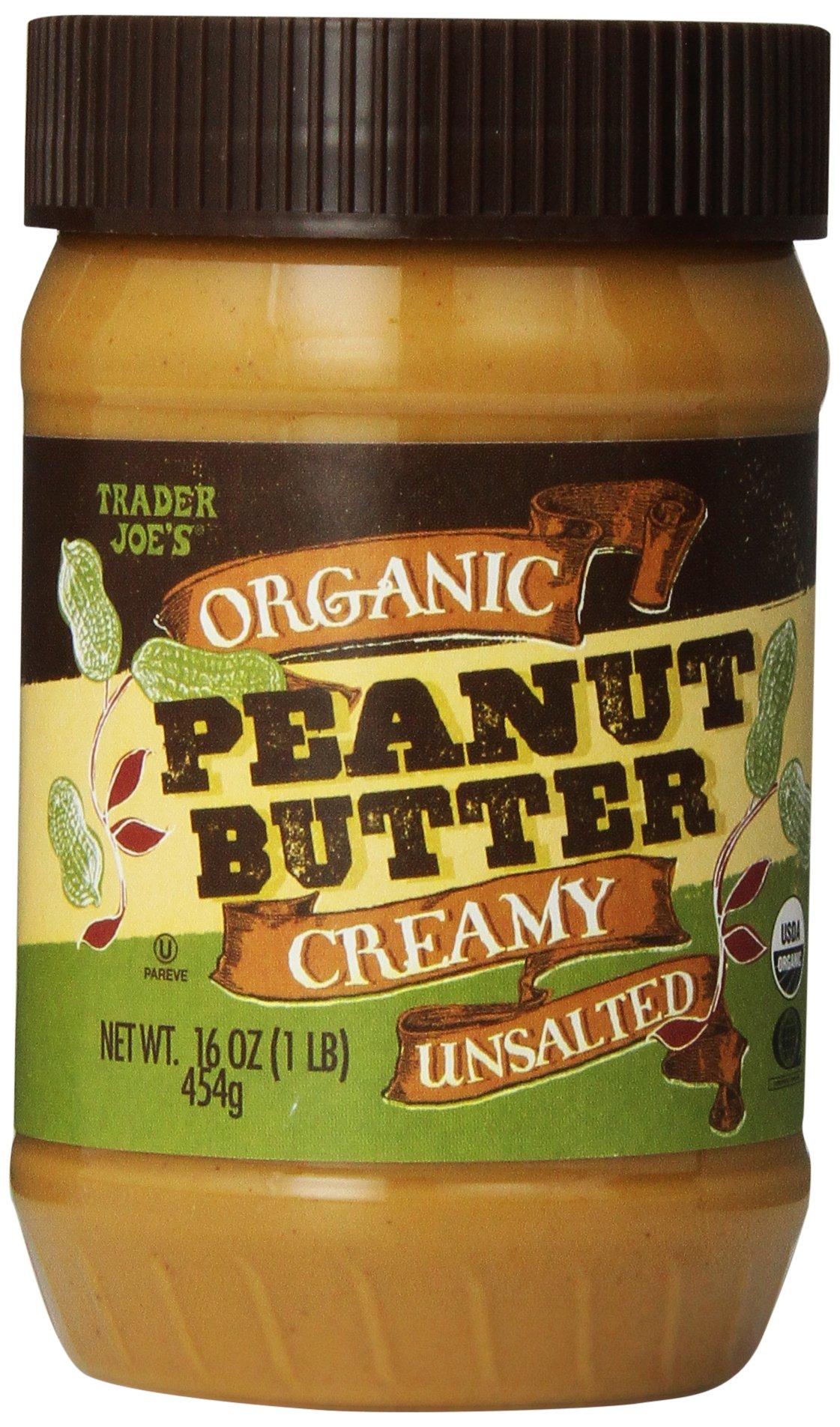 Trader Joe's Organic Peanut Butter Creamy Unsalted 16 Oz