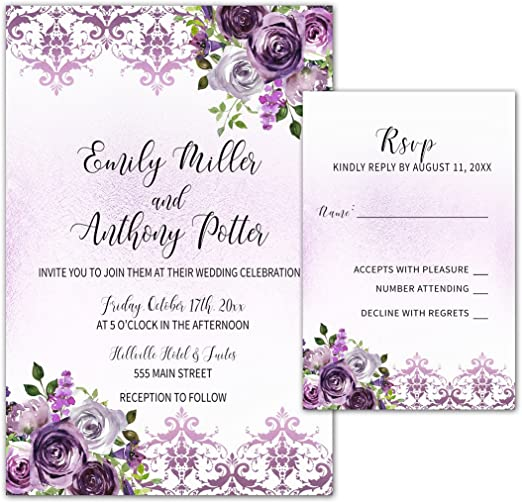 Amazon.com: 100 Wedding Invitations Purple Plum Lavender Damask