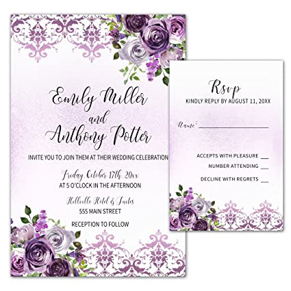 Amazon Com 100 Wedding Invitations Purple Plum Lavender Damask