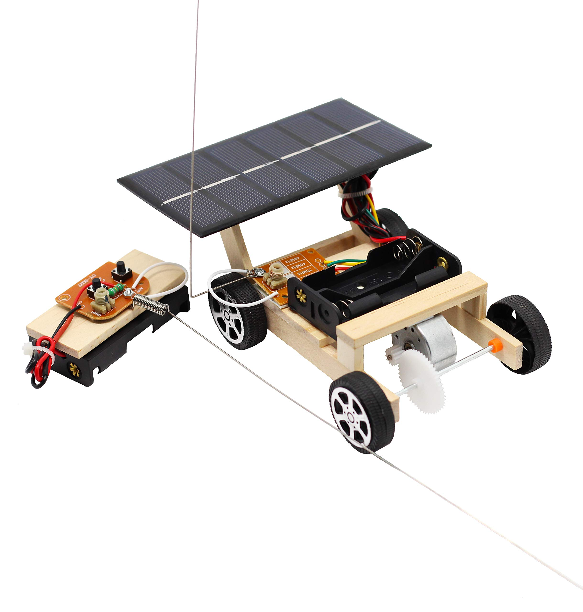 Pica Toys Wooden Solar & Wireless Remote Control Car Robotics Creative Engineering Circuit Science STEM Building Kit - Hybird Power for Electric Motor - DIY Experiment for Kids, Teens and Adults