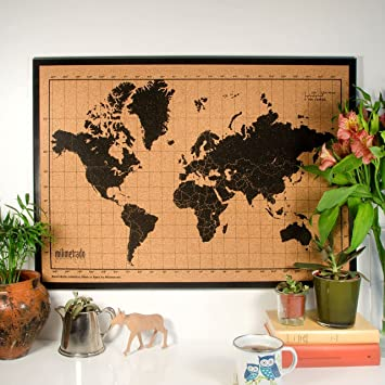 Milimetrado world map cork pin board with black pine wood frame 50 x milimetrado world map cork pin board with black pine wood frame 50nbsp gumiabroncs Image collections