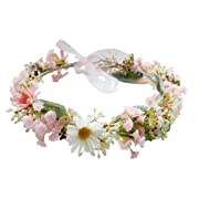 Vivivalue Boho Handmade Preserved Fresh Flower Wreath Halo Headband Floral Hair Garland Crown Headpiece with Ribbon Festival Wedding Pink