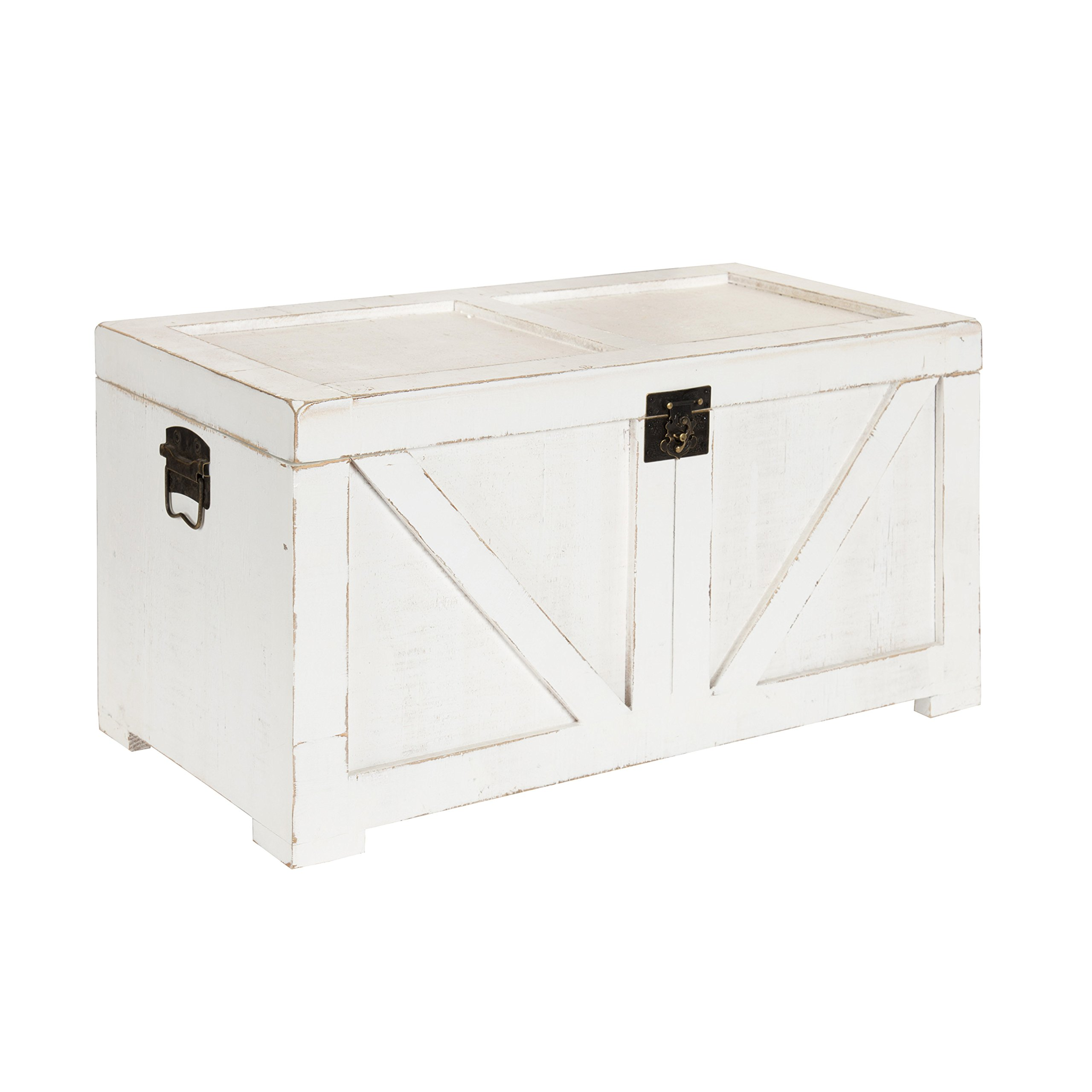 Kate and Laurel 213061 Cates Farmhouse Decorative Wood Trunk 14x27.5x14 White by Kate and Laurel