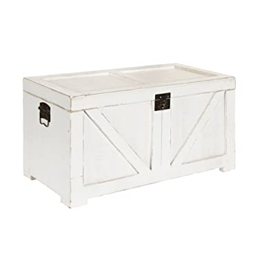 Kate and Laurel 213061 Cates Farmhouse Decorative Wood Trunk 14x27.5x14 White