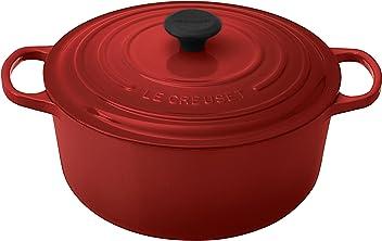 Le Creuset Signature Enameled Cast-Iron 7-1/4-Quart Round French (Dutch) Oven, Cerise (Cherry Red)