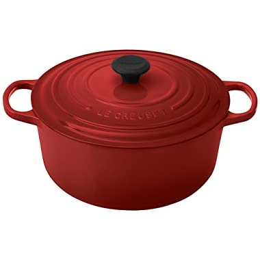 Le Creuset Signature Enameled Cast-Iron 7-1/4-Quart Round French (Dutch) Oven, Cerise (Cherry Red)