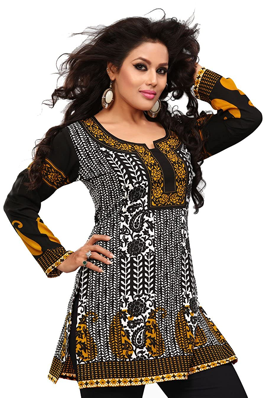 Maple Clothing Women's Indian Kurti Tunic Top Kurti Printed Blouse B00IH0KO3S