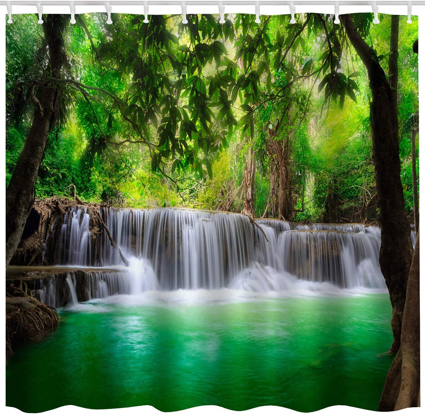 BROSHAN Green Landscape Shower Curtain Set, Tropical Waterfall in Forest Woodland Jungle Scenery Art Printing, Nature Waterproof Fabric Bathroom Decor Curtain with Hooks,Green Brown White, 72x 72 inch