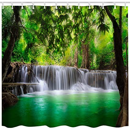 10801925e BROSHAN Green Lake Shower Curtain Set, Summer Waterfall in Forest Woodland Nature  Jungle Scenery Art
