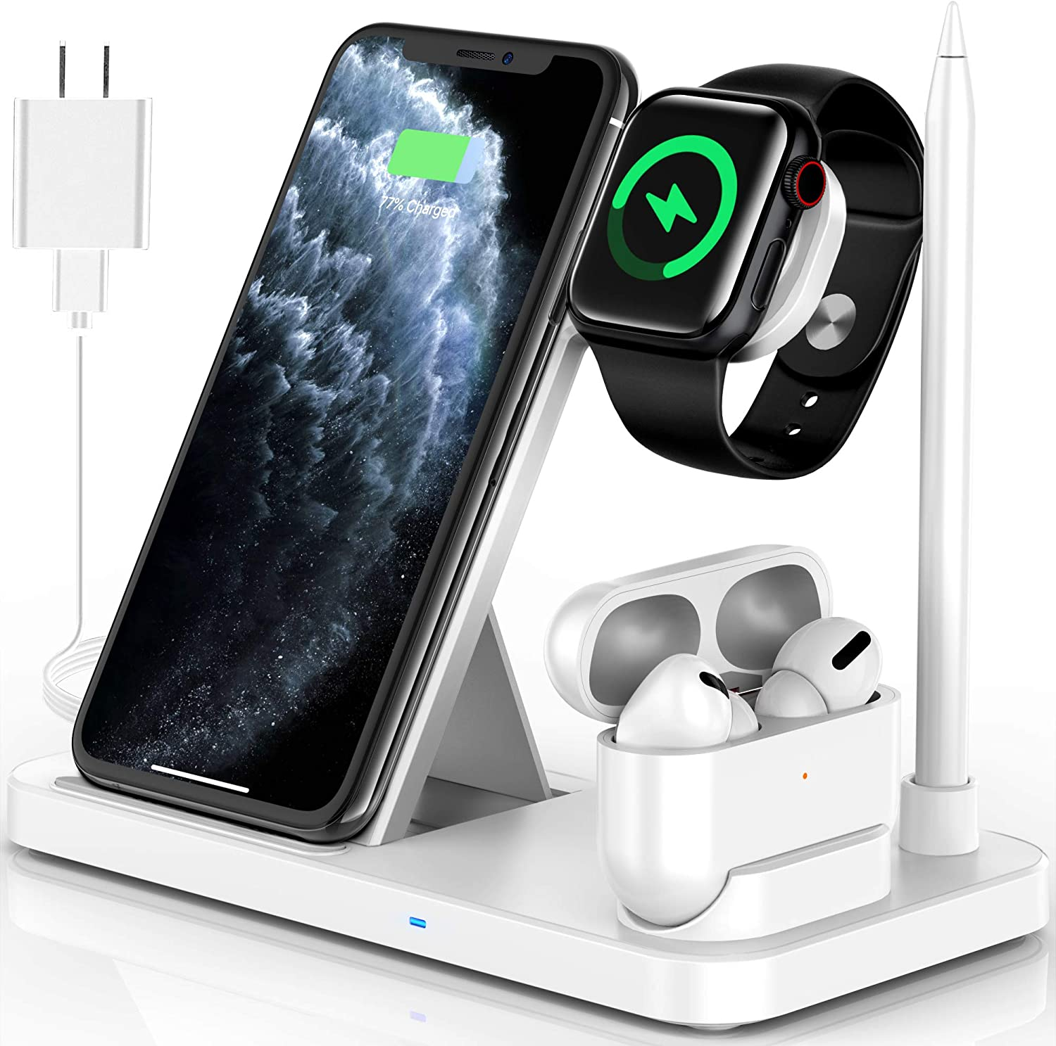 Powlaken Wireless Charger, 4 in 1 Wireless Charging Station Dock for Apple iWatch Series Se 6 5 4 3 2 1, AirPods Pro and Pencil, Charging Stand for iPhone 11, 11 Pro max, Xr, Xs max, X (White)