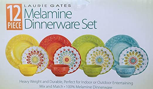 amazoncom laurie gates 12 piece melamine dinnerware set yellow u0026 orange u0026 green u0026 blue dinnerware sets - Melamine Dishes