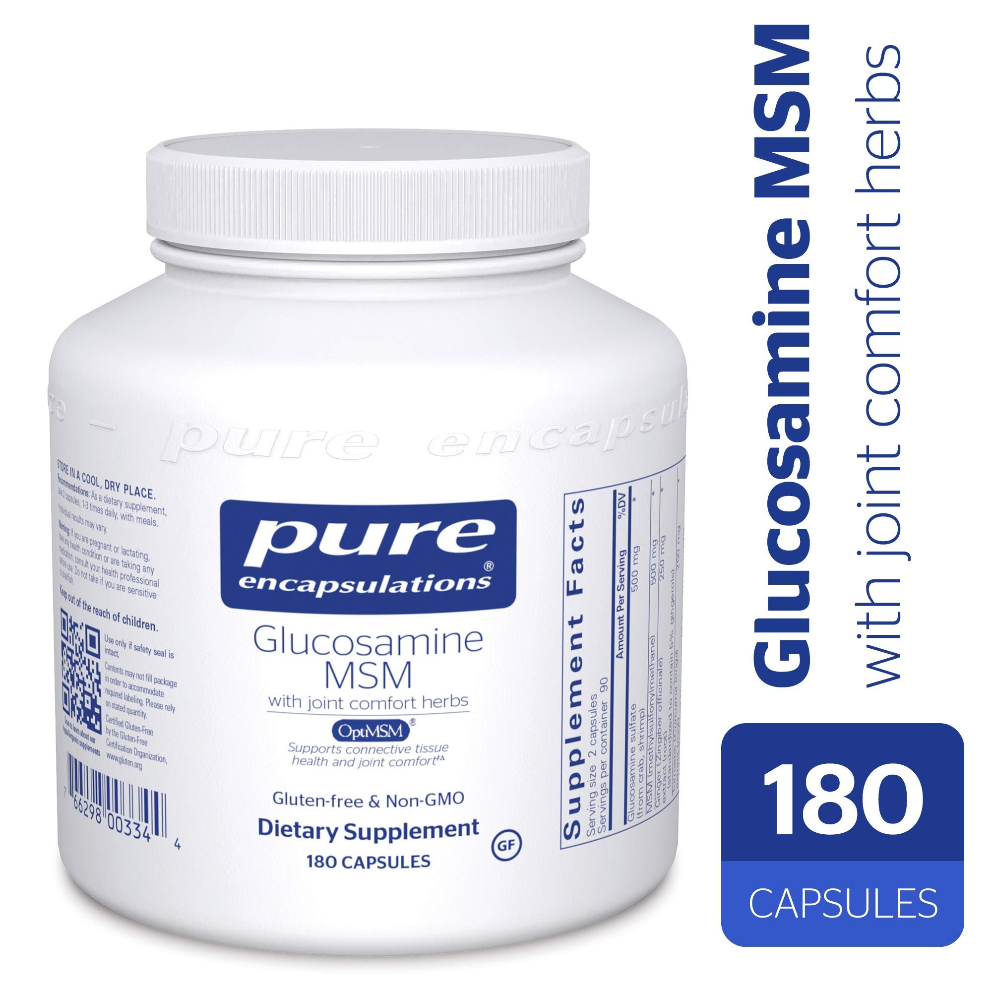 Pure Encapsulations - Glucosamine/MSM - Dietary Supplement Support for Healthy Joint Function and Tissues* - 180 Capsules