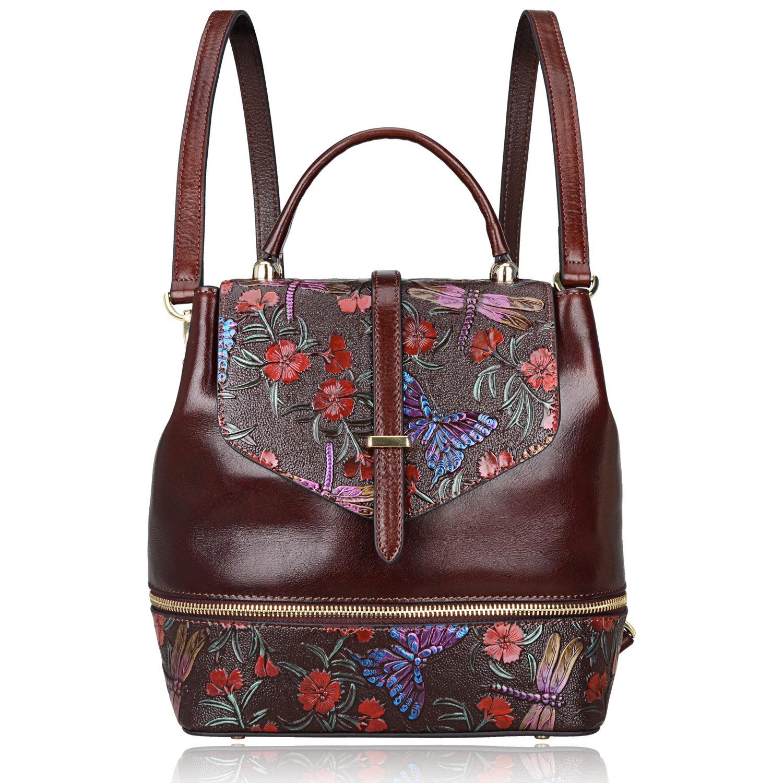 PIJUSHI Designer Women s Backpacks Floral Leather Mini Backpack Handbags  (65363 015bf0b500522