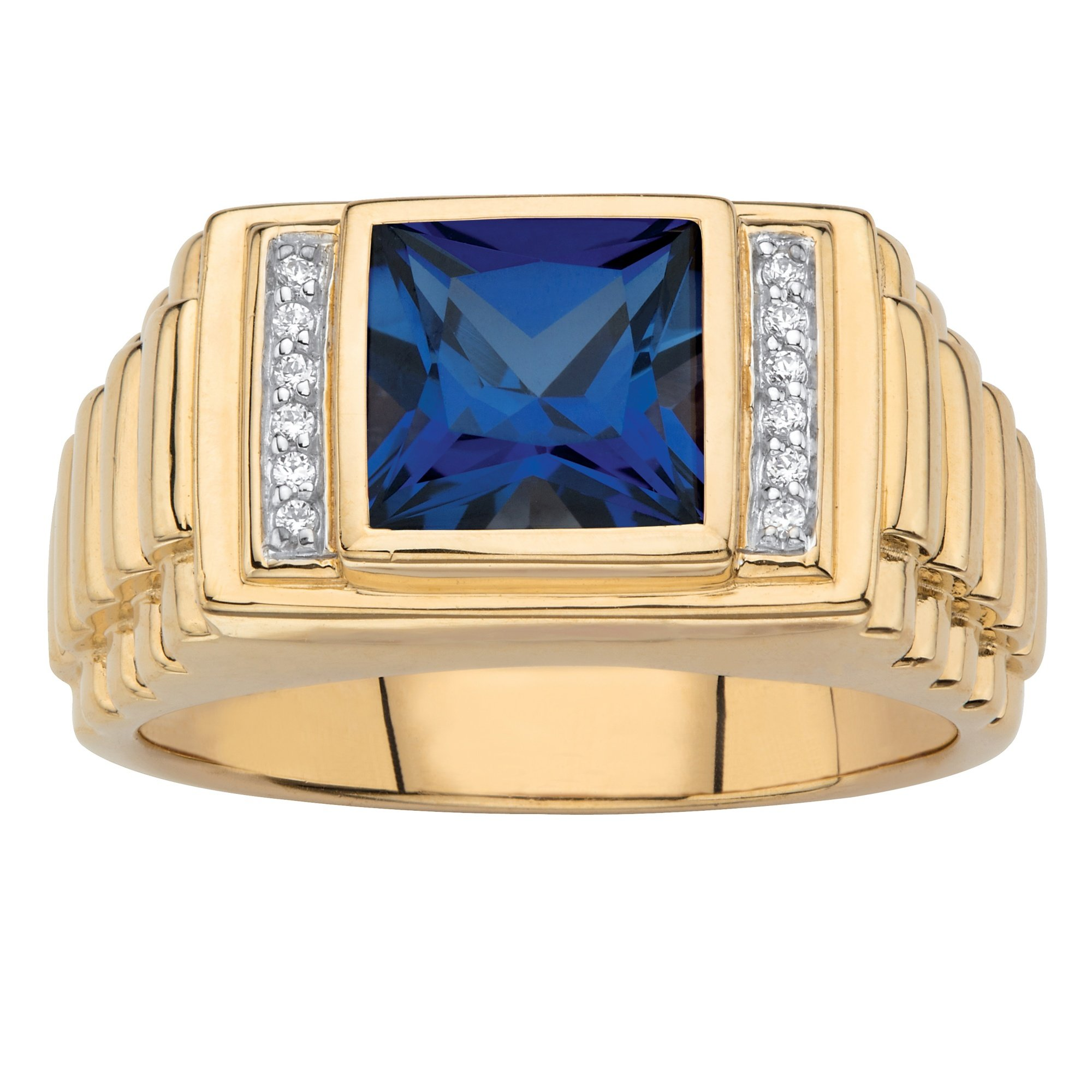 Men's 18K Gold over Sterling Silver Simulated Blue Sapphire and Diamond Accent Ring Size 12