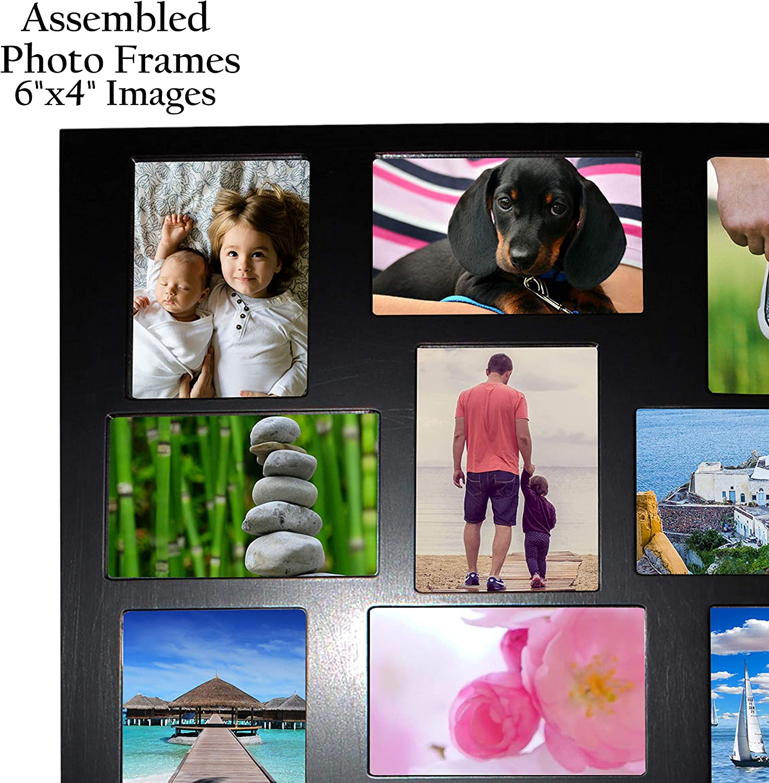 Cadre Photo Photomontage Pêle-mêle Plastique Noir 4 Emplacements NEUF