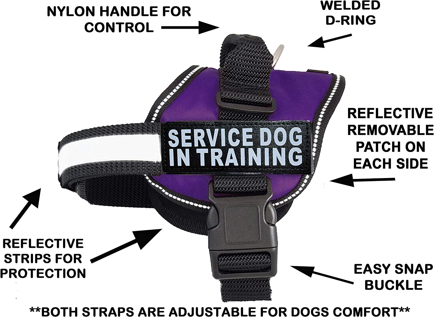 Doggie Stylz Service Dog in Training Vest with Hook and Loop Straps and Handle – Harness Comes in Sizes XXS to XXL – Three Colors – Service ¬Dog Vest Harness Features 2 Reflective Patches
