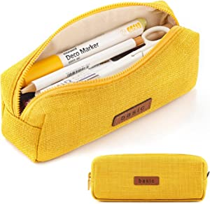 ANGOOBABY Small Pencil Case Student Pencil Pouch Coin Pouch Cosmetic Bag Office Stationery Organizer for Teen School-Yellow