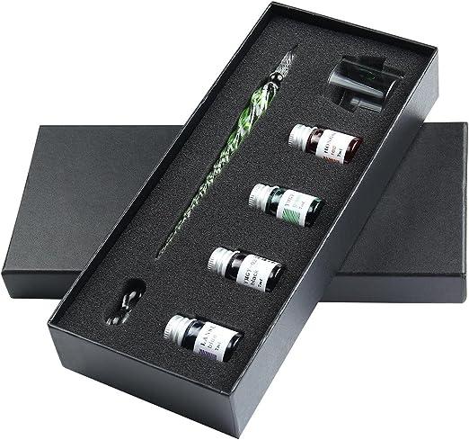 Pawaca - Bolígrafo de cristal para decorar la escritura con estuche de regalo, diseño vintage hecho a mano: Amazon.es: Oficina y papelería