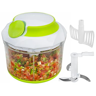 Brieftons QuickPull Food Chopper: Large 4-Cup Powerful Manual Hand Held Chopper/Mincer / Mixer/Blender to Chop Fruits, Vegetables, Nuts, Herbs, Onions for Salsa, Salad, Pesto, Coleslaw, Puree