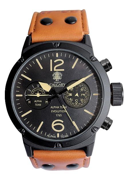 Relojes Calgary Alpha Team 1765. Reloj para Caballero colección Aventura. Correa en Color Marron, Esfera en Color Negro: Amazon.es: Zapatos y complementos