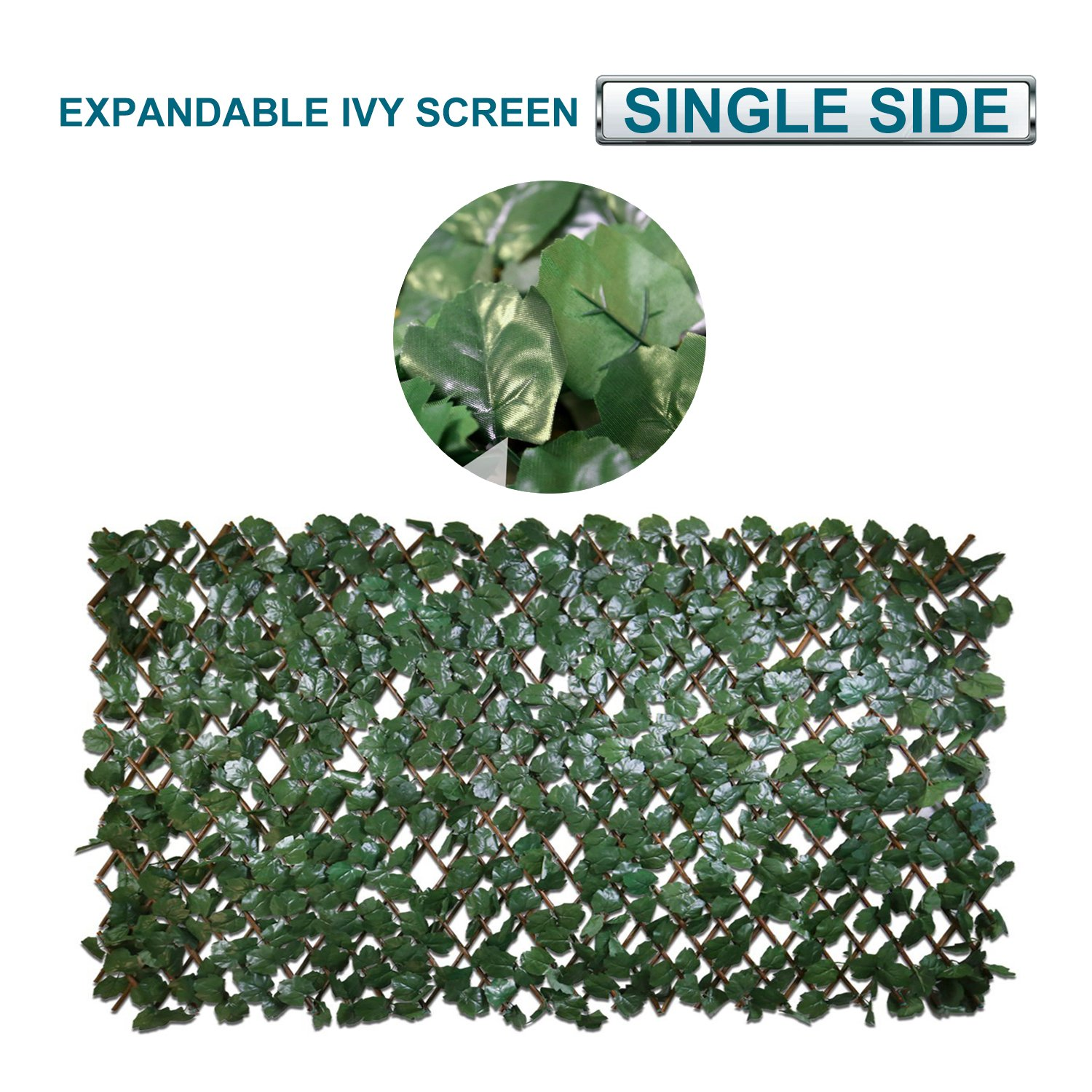 Coarbor Artificial Leaf Ivy Expandable Privacy Fence Screen Stretchable Fencing Perfect For Deck Balcony Patio Porch Trellis Decor- Single Side Leaves