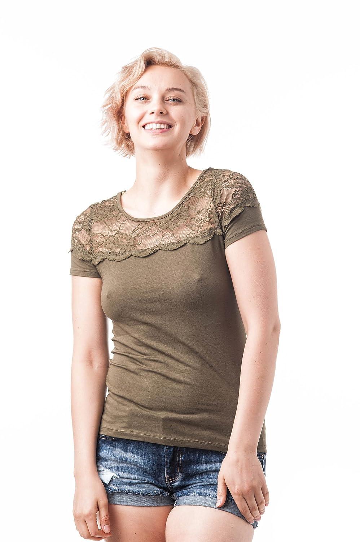 Khanomak Short Sleeve Round Neck Lace Top Women's 68101