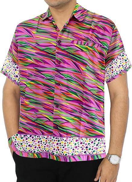 LA LEELA Men's Relaxed Tropical Hawaiian Shirt Front Pocket Shirt Dress Printed