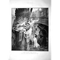 Old antique victorian print 1901 Lament Icarus Angels
