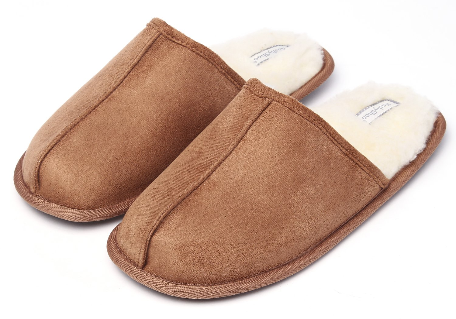 KushyShoo Men's Slip-On Indoor Outdoor Scuff Fluff Slippers by KushyShoo
