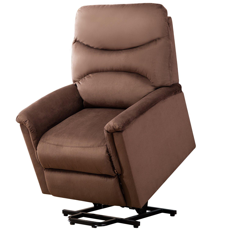 BONZY Lift Chair Microfiber Power Lift Recliner - Chocolate