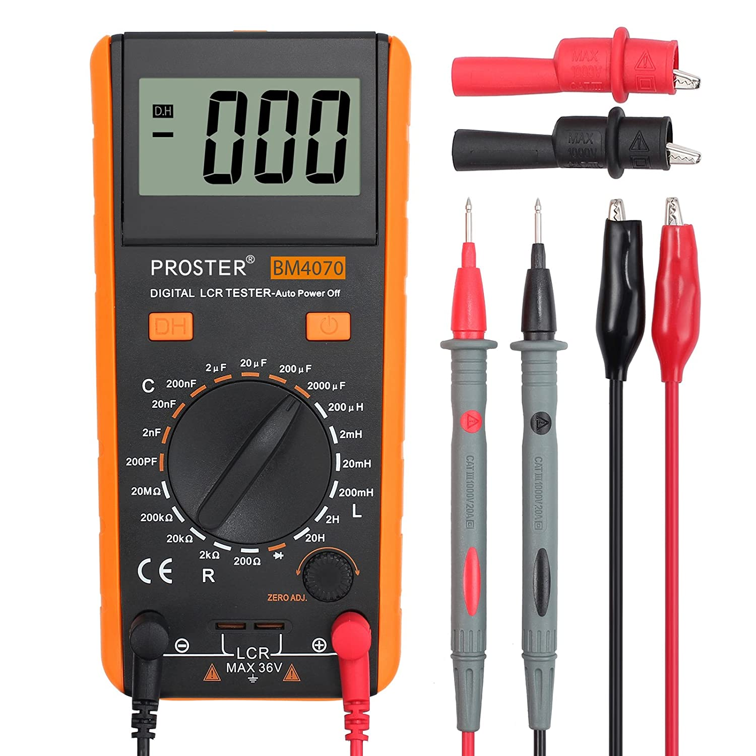Proster LCR Meter Capacitance Inductance Resistance Tester LCR Multimeter LCD Measuring Meter Self-discharge with Overrange Display