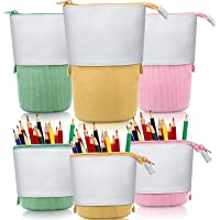 3 Pieces Telescopic Pencil Case Transformer Standing Stationery Pencil Holder Canvas Dual-Use Pop-up Stand Pencil Bags…