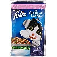 حقيبة طعام القطط المبللة من بيورينا فيليكس آز جود از ات لوكس مع سمك السلمون المرقط والفول الاخضر، 100 جم