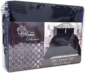Sweet Home Collection 3 Piece Luxury Pinch Pleat Pintuck Fashion Duvet Set, Queen, Navy