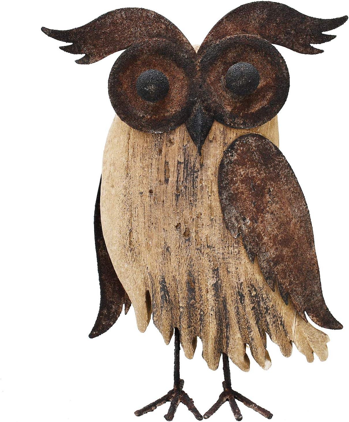 Wood Bird Figurine Home Decor Accent, Rustic Bird Statue Tabletop Decoration Owl Decor for Living Room Bedroom Office Decoration, Abstract Bird Figurine Spring Summer Autumn Decor (Rust Color B)