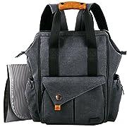 HapTim Baby Diaper Bag Backpack W/Stroller Straps- Multi-function Designer diaper bags Large Capacity, Insulated Pockets,Changing Pad, Waterproof (Dark Gray-5279).