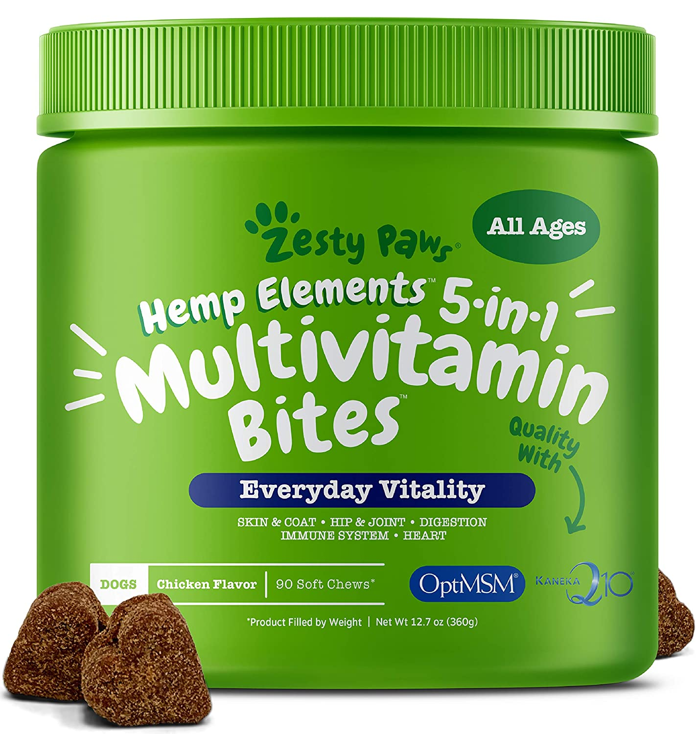 Zesty Paws Multivitamin for Dogs with Hemp - Glucosamine Chondroitin + MSM for Hip & Joint Health - Digestive Enzymes & Probiotics for Digestion - Vitamins & Omega 3 for Skin & Coat + Heart & Immune