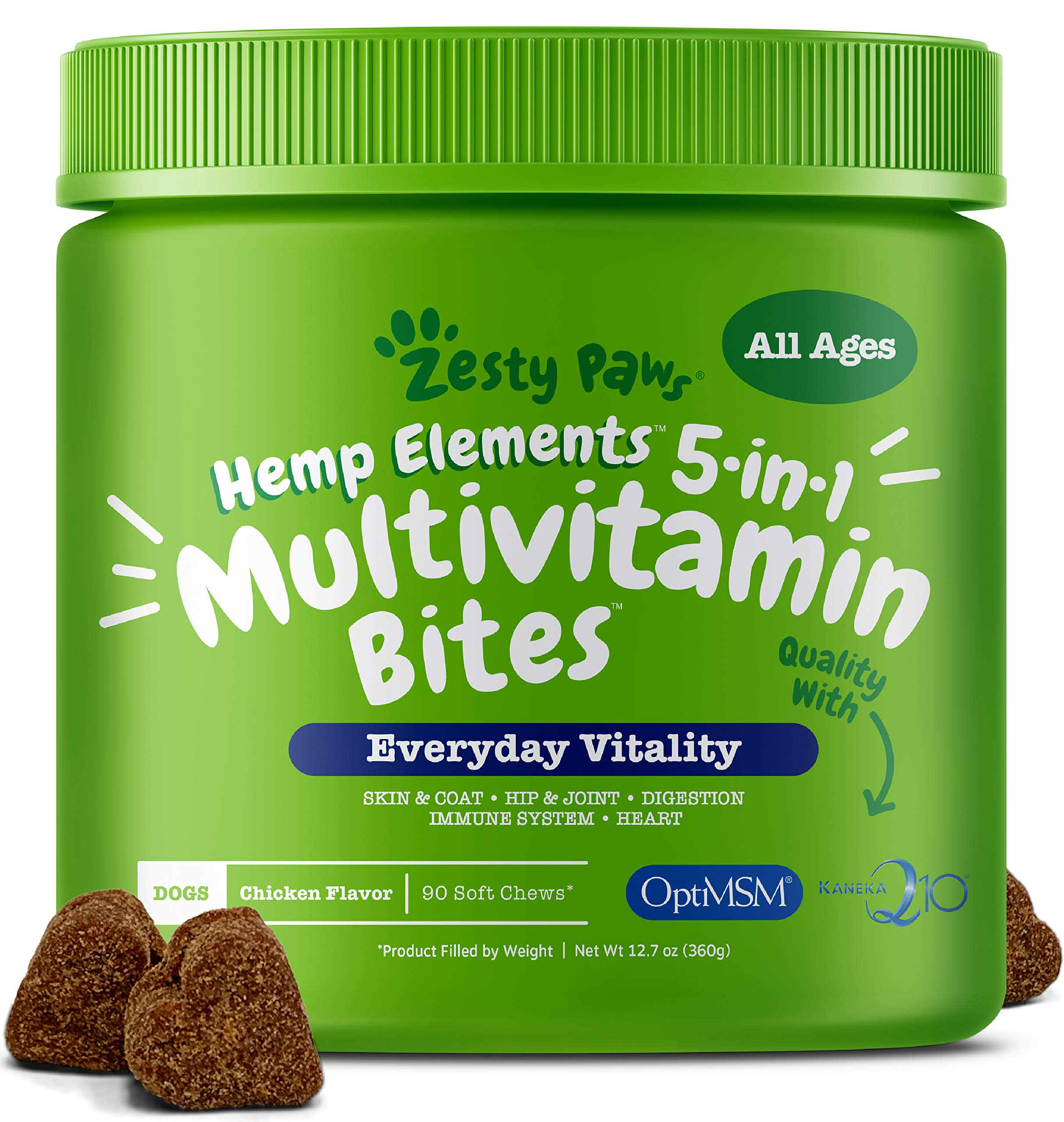 Multivitamin for Dogs with Hemp - Glucosamine Chondroitin + MSM for Hip & Joint Health - Digestive Enzymes & Probiotics for Digestion - Vitamins & Omega 3 for Skin & Coat + Heart & Immune - 90 Count by Zesty Paws