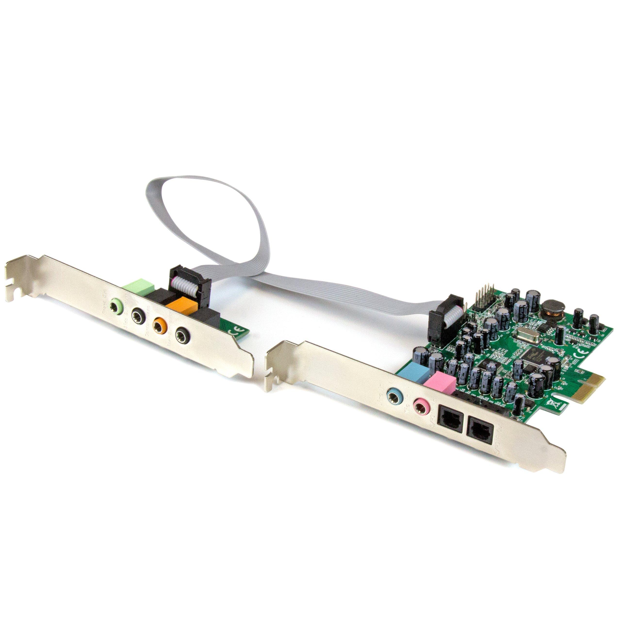 StarTech.com 7.1 Channel Sound Card - PCI Express - 24-bit - 192KHz - SPDIF Digital Optical and 3.5mm Analog Audio (PEXSOUND7CH)