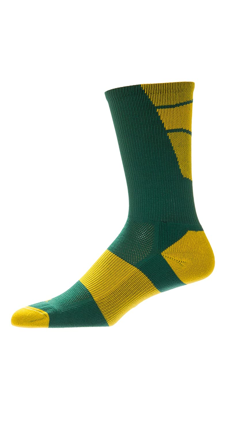 CSI Point Guard Performance Crew Socks Made In The USA Dk Green/Gold 6MAN13018
