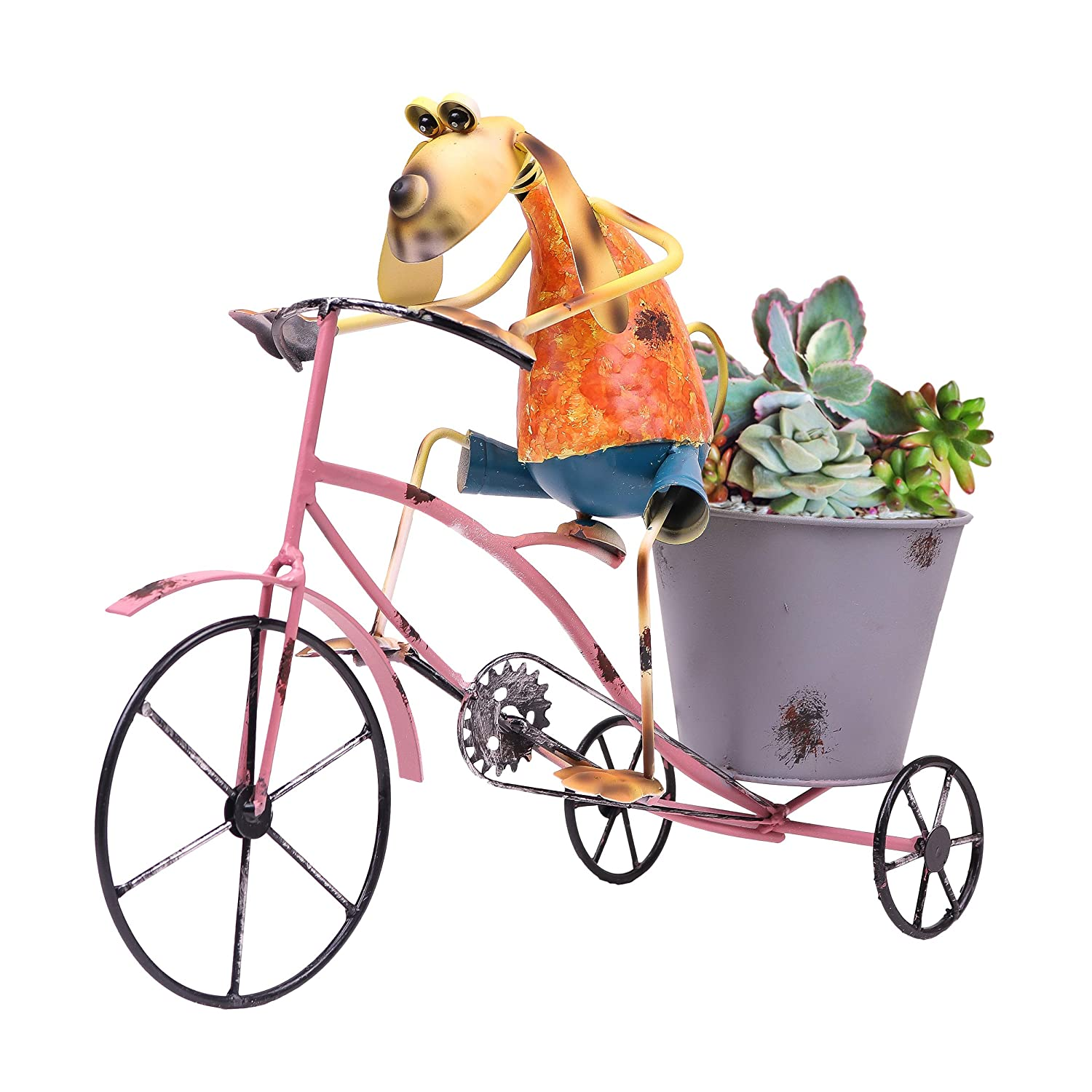 Teresas Collections 16 Metal Garden Decorations Dog Statues and Figurines with Plant Flower Pot for Outdoor Patio Yard Decorations
