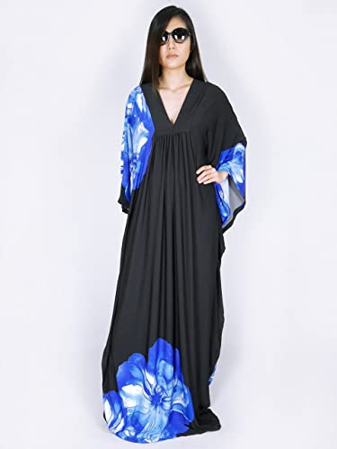 2bb72724759 Amazon.com  Women Butterfly Kaftan Plus Size Maxi Dresses Blue Floral   Handmade
