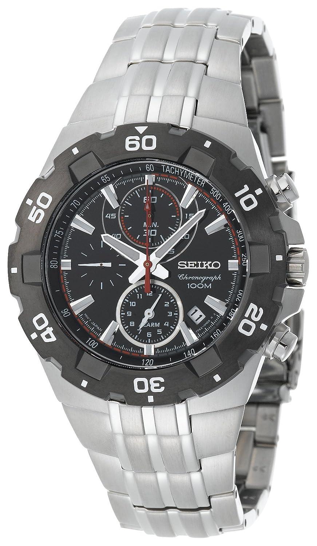 Seiko Men s SNAD35 Silver-Tone Black Bezel Sport Alarm Chronograph Watch
