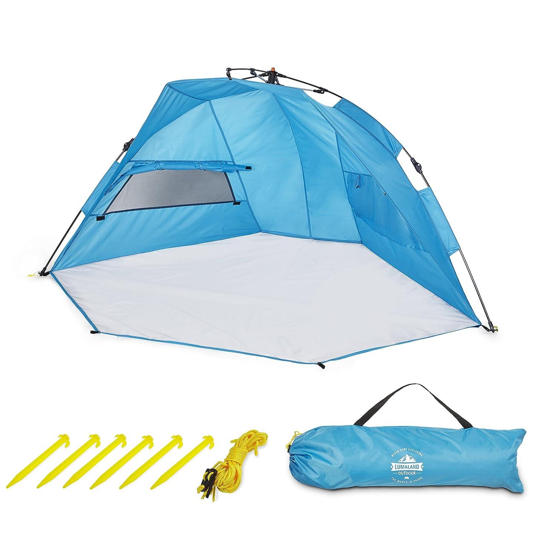 Lumaland Tent de Plage Pop Up Automatique Légère Abris de Plage Parasol Inclus Pôles Sac de Transport Différents mesures