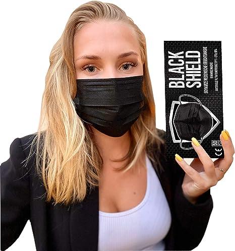 Mascherina chirurgica medicale nera 3 veli black shield certificata ce - dispositivo medico typo i - 50 pezzi