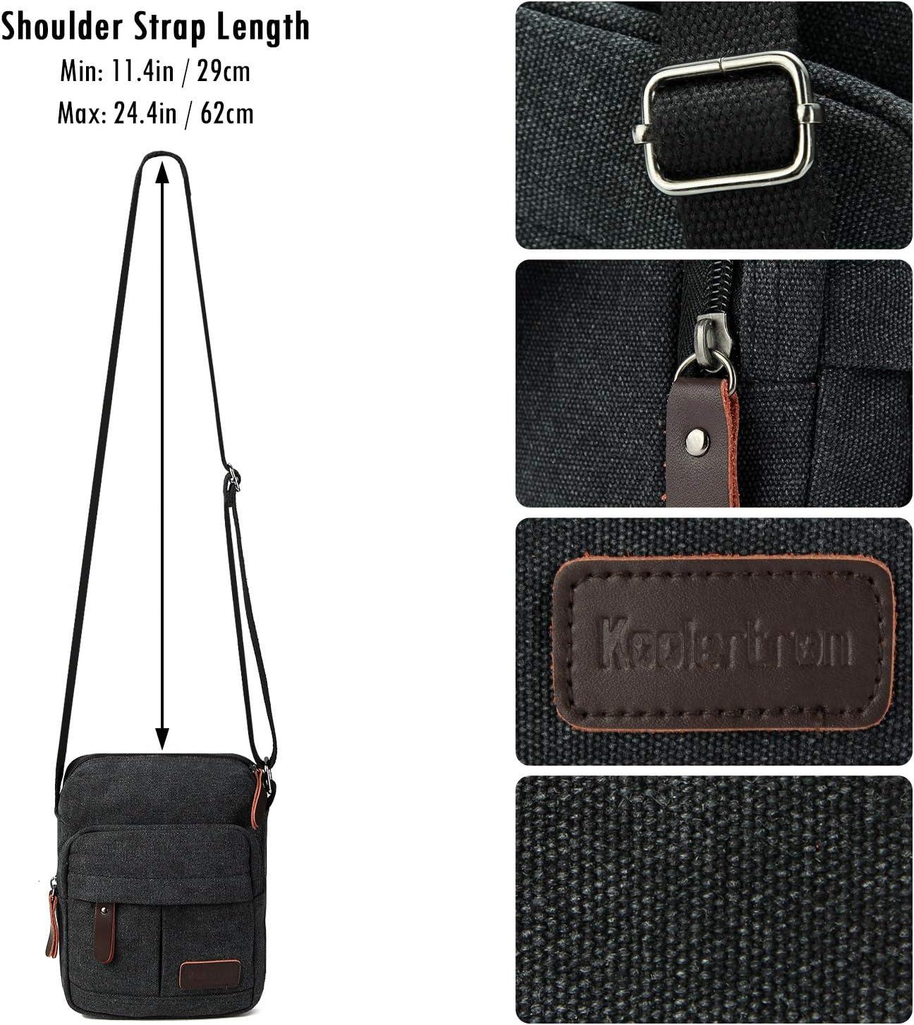 Koolertron Men Shoulder Bag Small Retro Canvas Satchel Zipped Unisex Lightweight Long Strap Crossbody Travel Messenger Bags for Phone iPad Mini Kindle Black, 23x27x11cm//LxHxW