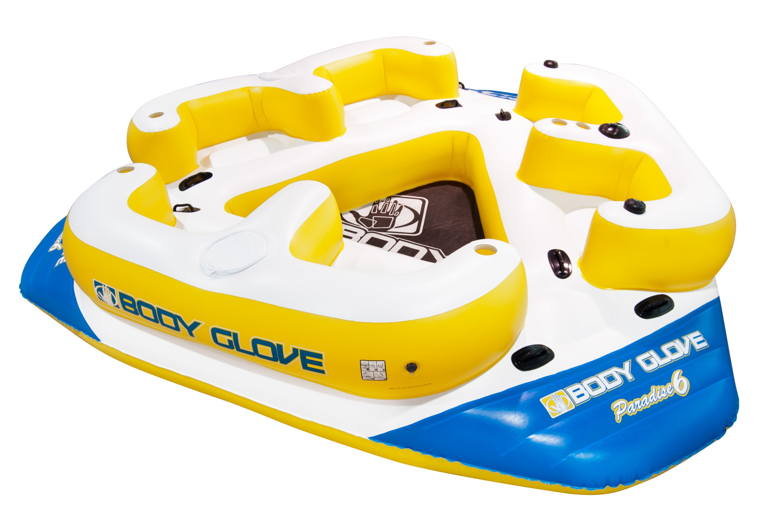 Body Glove Paradise 6 Inflatable Aqua Lounge with Waterproof Speaker System for Lake Relaxation, the party island for 6