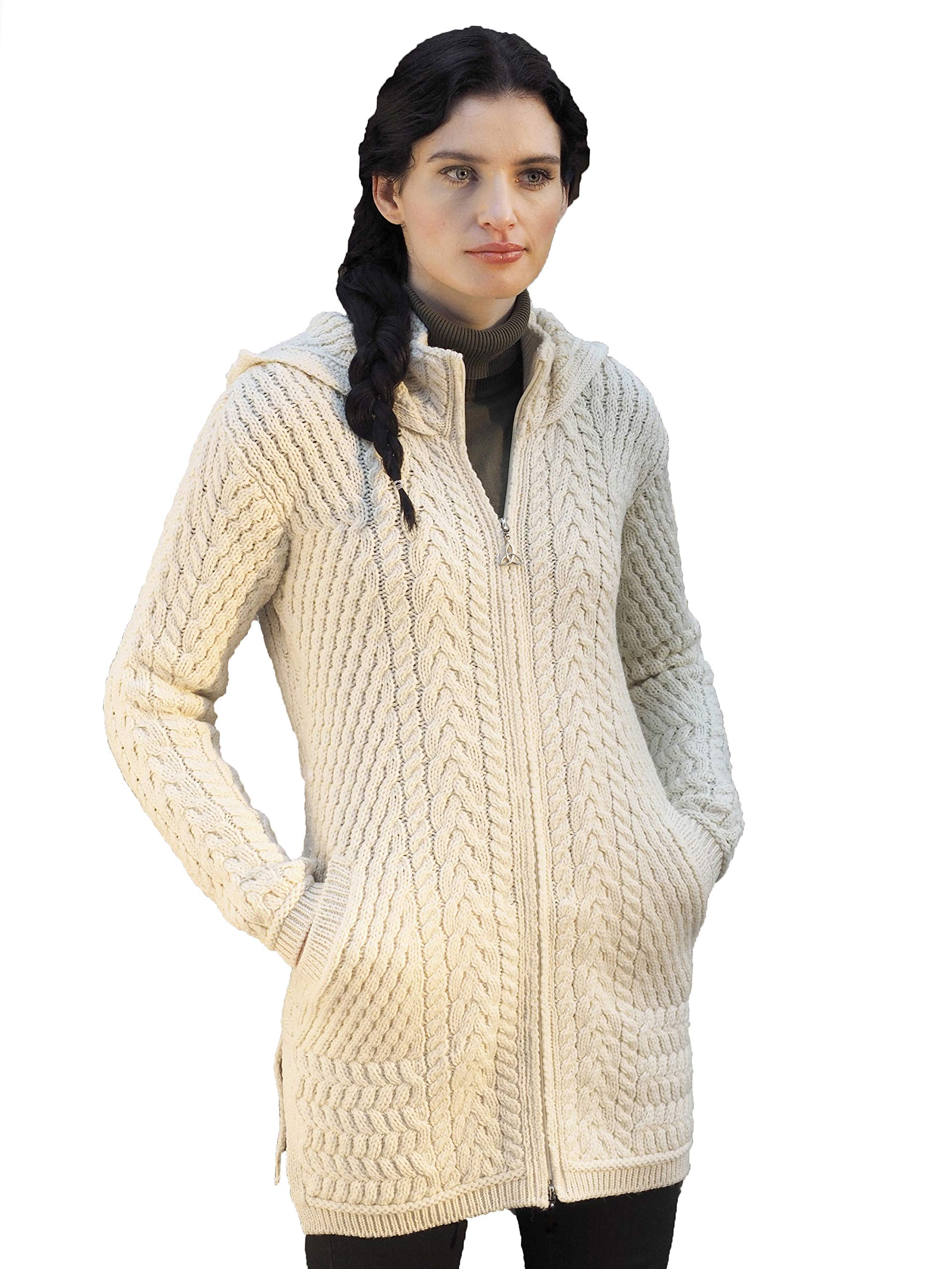 Aran Crafts Ribbed Merino Wool Coat with Hood MED Natural (HD4826-MED-NAT)